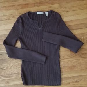 Kate Hill Chocolate Brown Knit Long Sleeve Top